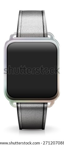 Blank Smart Watch with white or silver Fabric Strap - stock photo