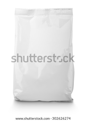 Blank Snack bag package isolated on white with clipping path - stock photo