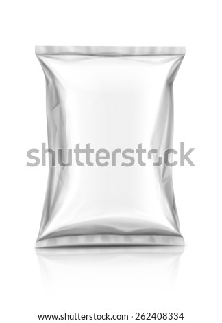 Blank snack packaging pouch isolated on white background - stock photo