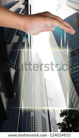 Blank solution blank screen interface on business buildings for business present background
