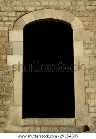 blank space at an ancient house's door - stock photo