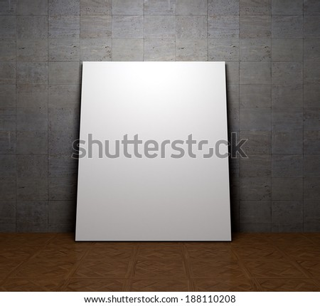Blank space poster or art frame waiting to be filled on a concrete  wall