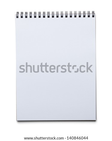 Blank Spiral Art Pad Isolated on White Background. - stock photo