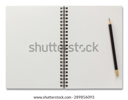 blank spiral notebook and pencil isolated on white background