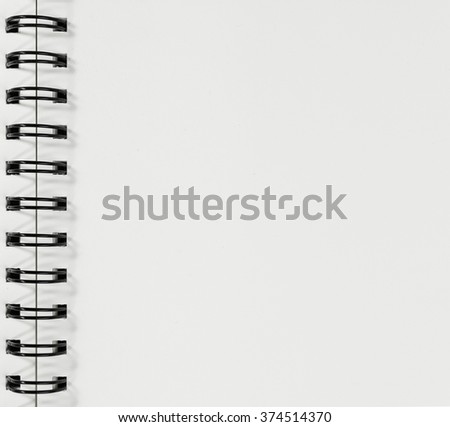 blank spiral notebook background.