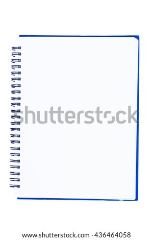 blank spiral notebook isolate on white background. - stock photo