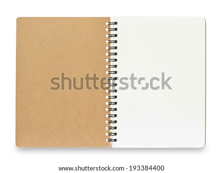 Blank Spiral Notebook isolated on a White Background with clipping path - stock photo