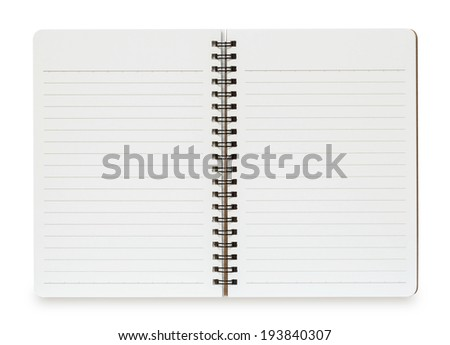 Blank Spiral Notebook isolated on a White Background with clipping path