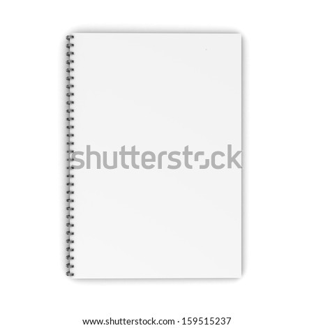 Blank spiral notebook isolated on white background. 3d illustration