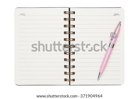 blank spiral notebook with ball point pen isolated on white background - stock photo