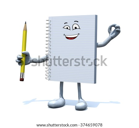 blank spiral notepad with face, arms, legs and a pencil on hand, 3d illustration - stock photo