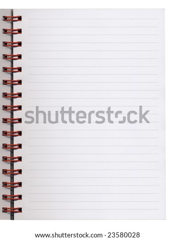 Blank spiralled notebook page sheet (office stationery)