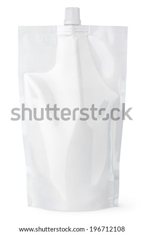 Blank spout pouch with cap or doy pack isolated on white with clipping path