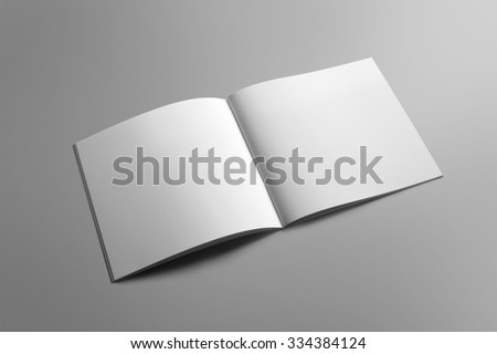 Blank square brochure magazine isolated on grey, with clipping path, changeable background - stock photo