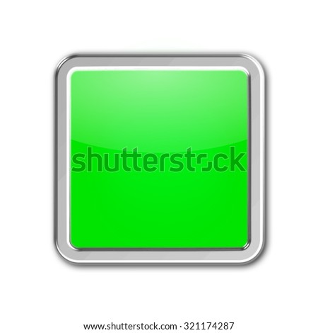 blank square button isolated on white background