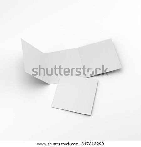 blank square three-leaf brochures isolated on white. render