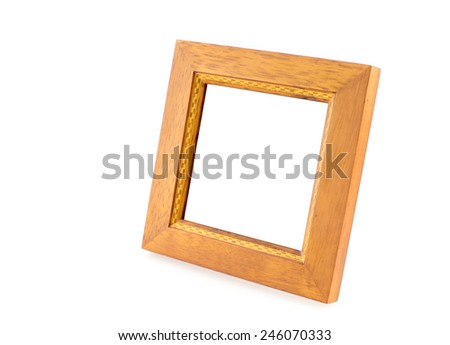 Blank Square wood frame in perspective view on isolated white background,Template for your photo