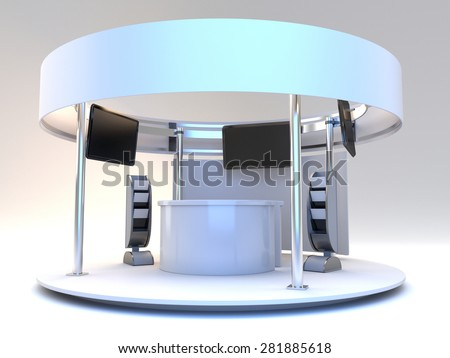 blank stall with rondo in an exhibition with tv displays - stock photo