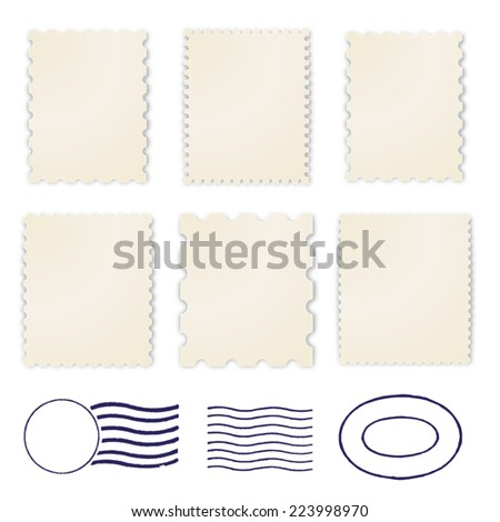 Blank stamps frame in yellowed paper - stock photo