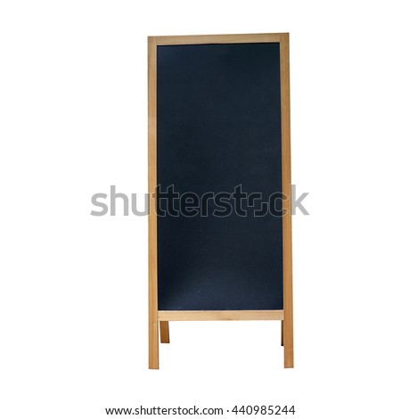 blank stand billboard with black board isolated on white background