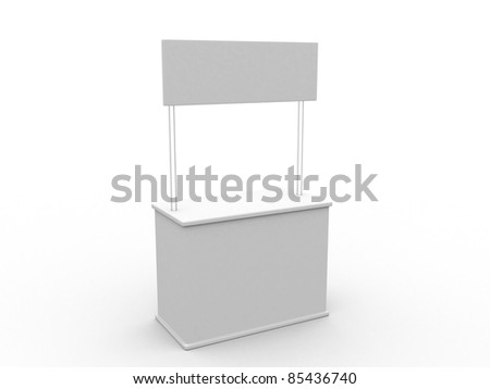 Blank stand. 3D rendered illustration. - stock photo