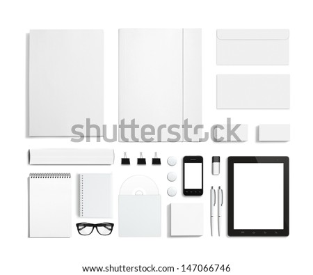 Blank stationery corporate id template consist stock illustration blank stationery and corporate id template consist of business cards letterhead a4 tablet reheart Images