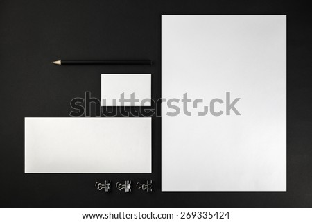 Blank stationery and corporate identity template on dark background.  For design presentations and portfolios. Top view.  - stock photo