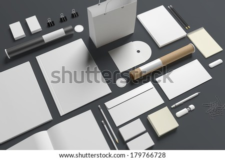 Blank stationery / Branding isolated on grey background.  - stock photo