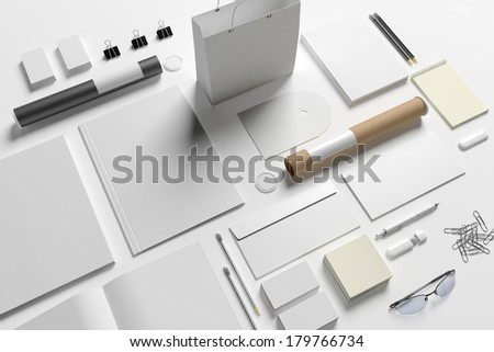 Blank stationery/ branding isolated on white background - stock photo
