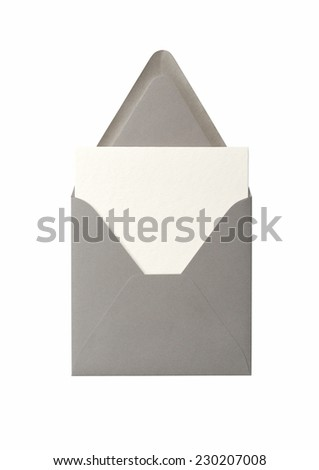 Blank stationery: card and envelope on a white background - stock photo