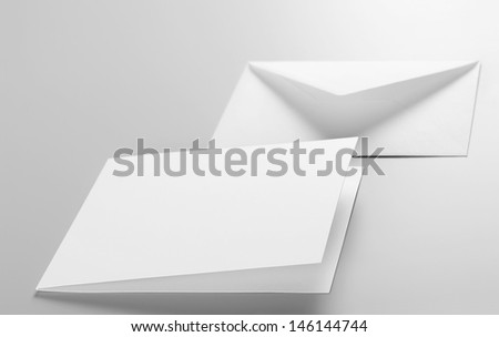Blank stationery: envelope and postcard  - stock photo