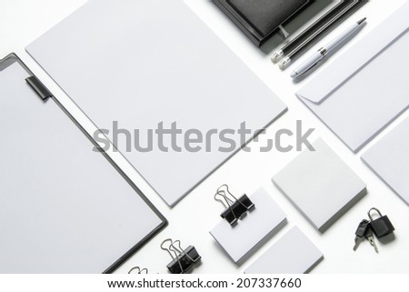 Blank stationery isolated on white to replace your design - stock photo