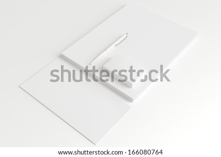 Blank Stationery Set isolated on white. Consist of Business cards, pen, letterhead and envelope.