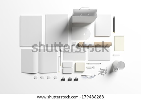Blank stationery set isolated on white. Consist of folder, note, magazine, bag, business cards, pencil, cd disk, buttons, envelopes, tubus. - stock photo