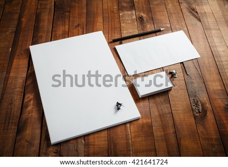 Blank stationery set on wooden table background. ID template. Mockup for branding identity for designers. - stock photo