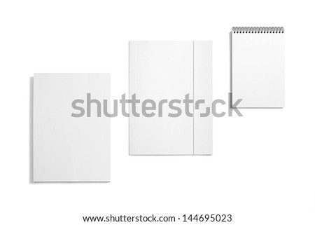 Blank Stationery templates. / Blank Stationery / Folder, note and letterhead isolated on white