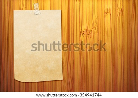 blank sticker glued to a bamboo board - stock photo