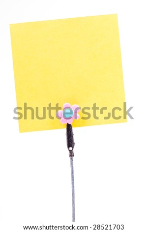 Blank sticky note isolated on the white background