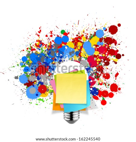 blank sticky note with splash colors lightbulb on white background as concept - stock photo