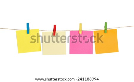 Blank Sticky Notes on a Rope - stock photo