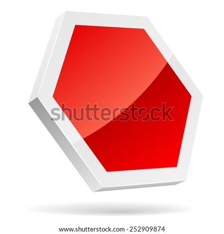 Blank stop sign 3D icon isolated on white. - stock photo