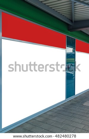 Blank store front window as copy space for graphics design mock up