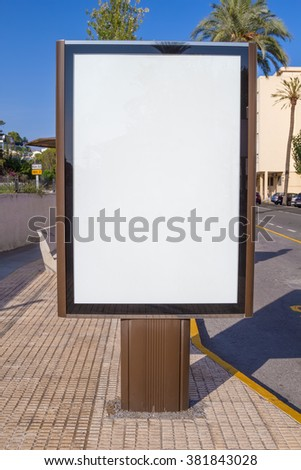 Blank street advertising vertical display. - stock photo