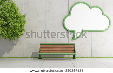 Blank street billboard on grunge wall with bench - 3D rendering - stock photo