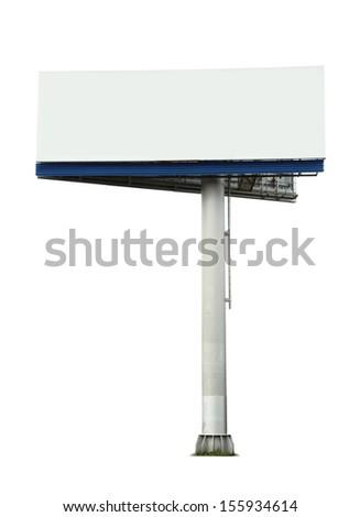 Blank street billboard on white - stock photo