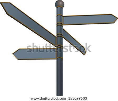 Blank street sign with different directions on white background