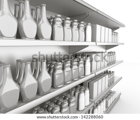 blank supermarket products on shelf in perspective. 3d image - stock photo