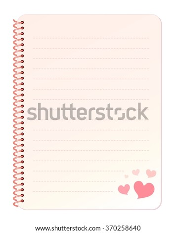 Blank Sweet Gradient Pink Spiral Bound Notebook Paper with Dashed Lines Decorated with Hearts at the Bottom Right Corner isolated on White Background Illustration - stock photo