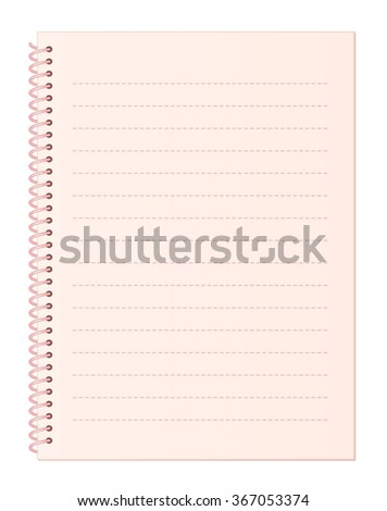 Blank Sweet Pink Notebook Paper with Dashed Lines and Spiral Wire Binding isolated on White Background Illustration