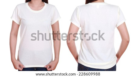 blank t-shirt set (front, back) with female isolate on white background